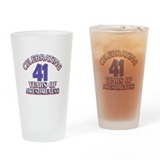 Awesome at 41 birthday designs Drinking Glass