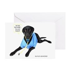 Black Lab Doctor Greeting Cards (Pk of 10)