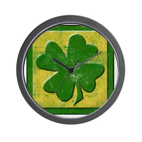 vintage shamrock logo Wall Clock