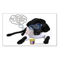 Black Lab Scientist Rectangle Decal