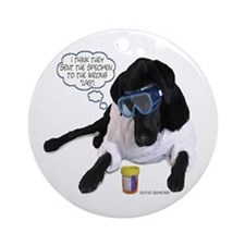 Black Lab Scientist Ornament (Round)