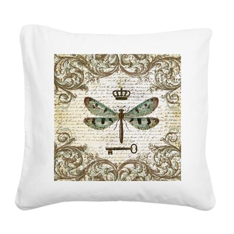 Modern Vintage Pillows : MODERN VINTAGE french dragonf Square Canvas Pillow by listing-store-6038465