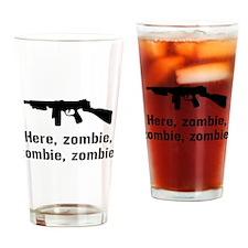 Here Zombie Zombie Zombie Gun Drinking Glass