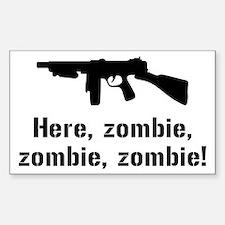 Here Zombie Zombie Zombie Gun Decal