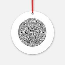 Aztec Calendar Stone wt 25 tons dia Round Ornament