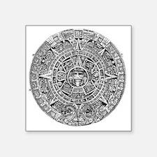 "Aztec Calendar Stone wt 25  Square Sticker 3"" x 3"""