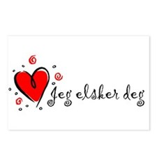 """""""I Love You"""" [Norwegian] Postcards (Package of 8)"""