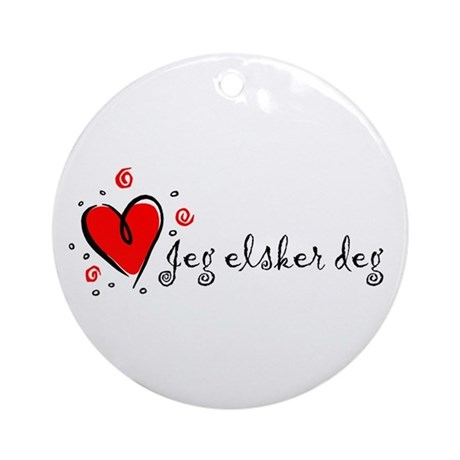 """I Love You"" [Norwegian] Ornament (Round)"