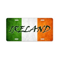 irish_flag_banner_4w Aluminum License Plate