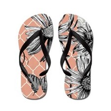 Heather Myers 036d MODERN BLOOMS coral  Flip Flops