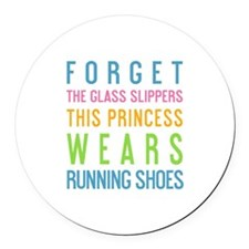 Cute Princesses wear running shoes Round Car Magnet