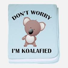 Don't Worry I'm Koalafied baby blanket
