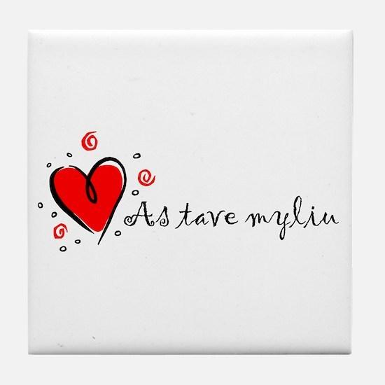 """I Love You"" [Lithuanian] Tile Coaster"
