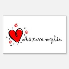 """I Love You"" [Lithuanian] Rectangle Decal"