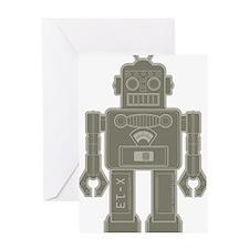RobotMilGreenBrown Greeting Card