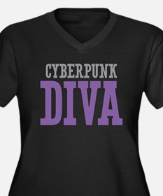 Cyberpunk DIVA Women's Plus Size V-Neck Dark T-Shi