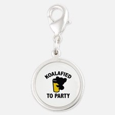 Koalafied To Party Silver Round Charm