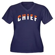 CHIEF Women's Plus Size V-Neck Dark T-Shirt
