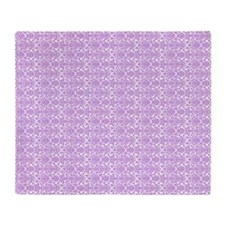 Lilac White Damask Monogram Throw Blanket