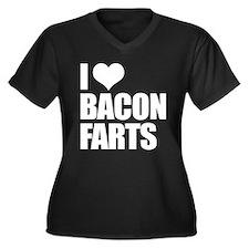 I Love Bacon Farts Women's Plus Size V-Neck Dark T