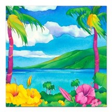 """Sunny MauiMouse Square Car Magnet 3"""" x 3"""""""