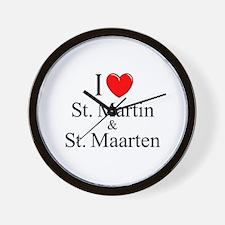 """""""I Love St. Martin & St. Maarten"""" Wall Clock"""