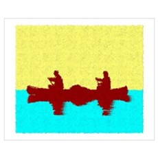 PAINTED YELLOW SKY CANOE Poster