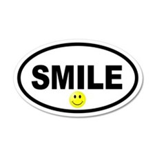 Smile Smiley Face Oval 20x12 Oval Wall Peel