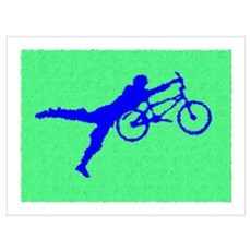 PAINTED GREEN BLUE BMX Framed Print