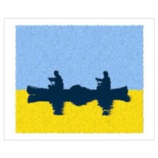 PAINTED BLUE SKY CANOE Poster