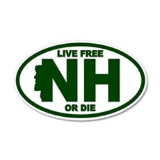 Green New Hampshire Live Free Or Die Sticker (Oval