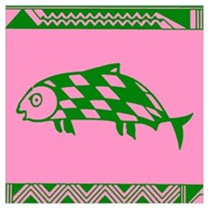 MIBRES FISH GREEN ON PINK Poster