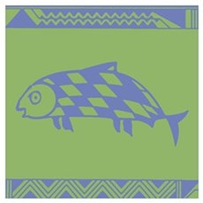 MIBRES FISH BLUE ON GREEN Poster