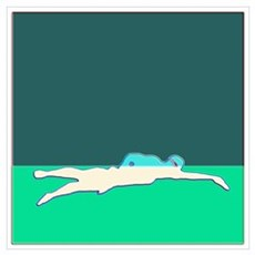 WAX WHITE ON GREEN SWIMMER Poster