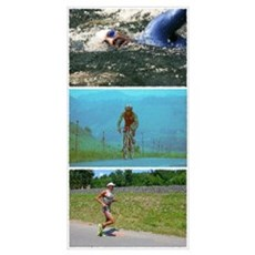 SOLO TRIATHLON TRIPTYCH PAINTING Poster