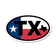 Texas Flag and Map 20x12 Oval Wall Peel