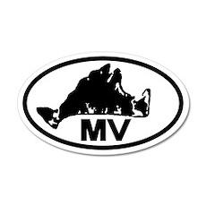 Martha's Vineyard MV Map 20x12 Oval Wall Peel