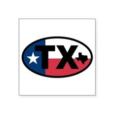 Texas Flag and Map Oval Sticker