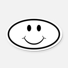 Happy Smiley Face Oval Oval Car Magnet