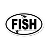 Fly fishing Oval Car Magnets