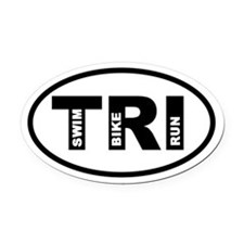 Triathlon Swim Bike Run Oval Car Magnet