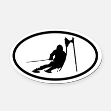 Ski Racer Oval Car Magnet