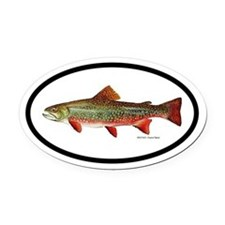 Trout Fishing Oval Car Magnet