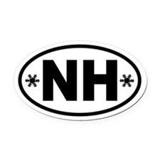 New Hampshire Winter Snowflake Oval Car Magnet