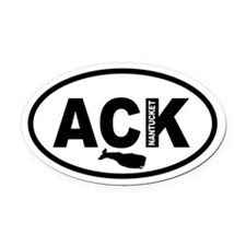 ACK Nantucket Whale Oval Car Magnet