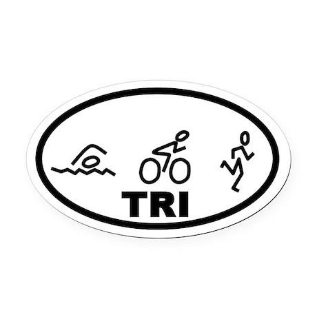 TRI Swim Bike Run Oval Car Magnet