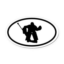 Hockey Goalie Oval Car Magnet