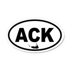 ACK Nantucket Map Oval Car Magnet