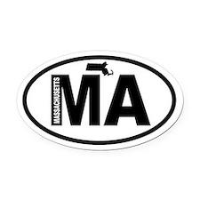 Massachusetts Map Oval Car Magnet