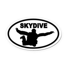 Skydiver Free Fall Oval Car Magnet